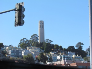 Coit Tower from an F-Line Trolley.